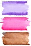 Cursos coloridos da escova da aguarela Imagem de Stock