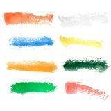 Cursos coloridos da escova da aquarela do vetor Fotografia de Stock