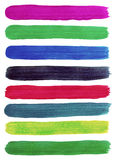 Cursos coloridos da escova de pintura da mão da aquarela. Imagem de Stock Royalty Free