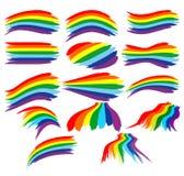 Cursos coloridos da escova do arco-íris da arte ajustados Imagem de Stock Royalty Free
