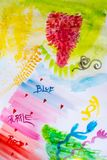 Cursos coloridos da escova em um Livro Branco, desenho do watercolour Fotografia de Stock