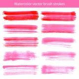 Cursos cor-de-rosa brilhantes do vetor da escova da aquarela Fotos de Stock Royalty Free