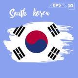 Cursos da escova da bandeira de Coreia do Sul pintados ilustração stock