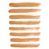 Cursos da escova da tinta do ouro Imagens de Stock Royalty Free