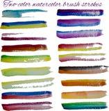 Cursos da escova do vetor da aquarela ajustados Fotografia de Stock Royalty Free