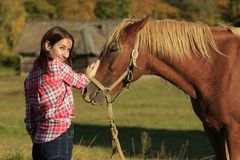 Cursos da menina um cavalo foto de stock
