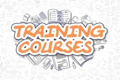 Cursos de aprendizaje - texto de la naranja de la historieta Concepto del asunto ilustración del vector