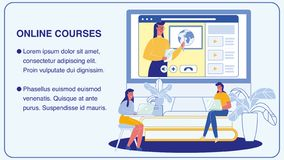 Cursos en línea, disposición de la bandera del vector de la universidad stock de ilustración