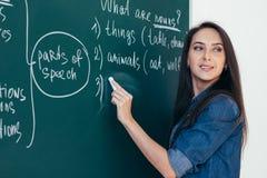 Cursos ingleses Escola de língua Escrita do professor no quadro fotografia de stock