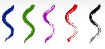 Cursos secos curvados Grunge da escova Colorido, isolado, vetor ilustração stock