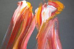 Cursos vermelhos e amarelos da escova na lona Fundo da arte abstrata Textura da cor Fragmento da arte finala Pintura abstrata na  ilustração stock