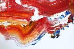 cursos vermelhos impetuosos da escova na lona Fundo da arte abstrata Textura da cor Fragmento da arte finala Pintura abstrata na  ilustração royalty free