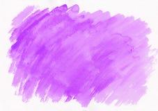 Cursos violetas da escova da aquarela Fundo abstrato bonito para desenhistas, modelos, convites, cartão, Web fotografia de stock