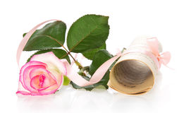 The curtailed notes and rose with tape Stock Images