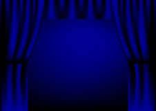Curtain. Illustration of blue theater curtain stock illustration
