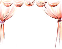 Curtain. Drawing of beautiful curtain in a white background Stock Photos