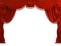 Curtain. Red classic 3d curtain on the white background Royalty Free Stock Photo