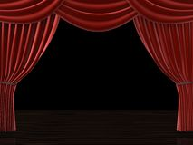 Curtain. 3d rendered illustration of a red theatre curtain Stock Photos