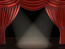 Curtain. 3d rendered illustration of a red theatre curtain Stock Image