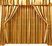 Curtain. Golden theatrical curtain. 3d image Stock Photo