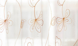 Curtain. Stitching with delicate floral beauty Royalty Free Stock Photos