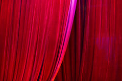 Curtain. Big Red velvet theater curtains Royalty Free Stock Photography
