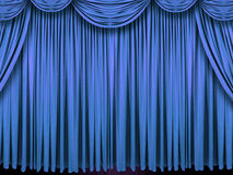 Curtain. Blue Curtain, in classical  theater Royalty Free Stock Image