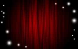 Curtain. Red theater curtain with sparkles vector illustration