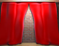 Curtain. Scene of the curtain s on background wall Stock Photography