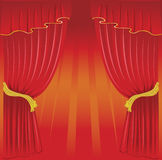 Curtain. Old fashioned, elegant theater stage with redcurtains Royalty Free Stock Photography