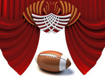 Curtain and american football Royalty Free Stock Photography