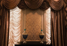 The curtain. On the balcony at home, before and after the 2 layer, respectively from both sides opened Royalty Free Stock Photos