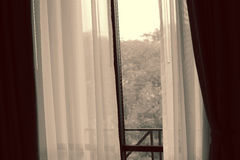 curtain of bedroom window Royalty Free Stock Photography