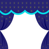 Curtain blue night sky with stars, as in the theater, a blank for invitation or ticket, Royalty Free Stock Photography