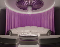 Curtain on the ceiling and sofa in luxury interior. Restaurant. living room. Modern apartment Vector Illustration