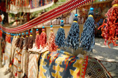 Curtain with colored strings in a turkish market Royalty Free Stock Photography