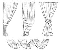 Curtain draped with lambrequins isolated on a white vector illustration