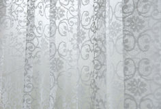 Curtain Drapes. White curtain drapes, in a window stock photography