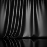 Curtain drapes black silk fabric cloth background Royalty Free Stock Images