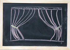 Curtain drawn on the blackboard Stock Image