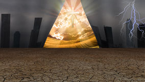 Curtain of Dystopic world opens to reveal a shinning cross and o. Ther peaceful world Royalty Free Stock Photos