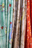 Curtain fabrics. Colorful curtain fabrics on display in an exhibition Royalty Free Stock Photography