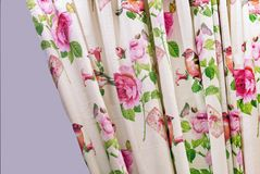 Curtain with floral patterns in the interior of the living room stock photography