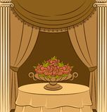Curtain with flowers. Royalty Free Stock Photo