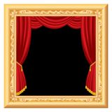 Curtain frame. Abstract composition with stage inside baroque frame Royalty Free Stock Photos