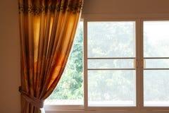 Curtain home decor. Curtain drapery interior home decoration on window Stock Photo