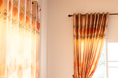 Curtain home decor. Curtain drapery interior home decoration on window Royalty Free Stock Images