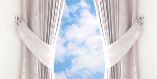 Curtain in hoome open to the sky. Curtain in hoome open to sky Royalty Free Stock Photo