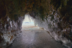 Curtain of icicles from the cave. Stock Image