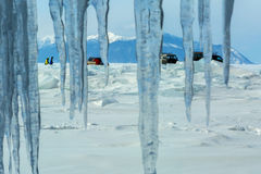 Curtain of icicles and tourist expedition on Baikal ice. Stock Photography